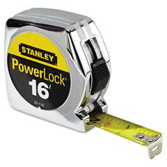 "Stanley Tools Powerlock Tape Rule, 3/4"" x 16', Plastic Case, Chrome, 1/32"" Graduation"