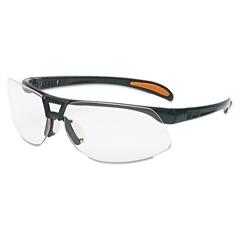 Protege Safety Eyewear, Metallic Black Frame, Clear Lens