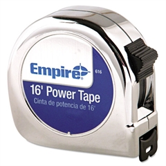"Empire Power Tape Measure, 3/4"" x 16', Metal Case, Chrome, 1/16"" Graduation"