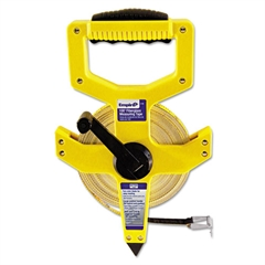 "Empire Open-Reel Fiberglass Measuring Tape,1/2""x100ft, Yellow/White Blade, Yellow Case"