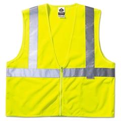 GloWear Class 2 Standard Vest, Lime, Mesh, Zip