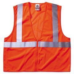 Ergodyne GloWear 8210Z Class 2 Economy Vest, Polyester Mesh, Zipper Closure, Orange, L/XL