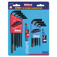 22-Piece Short- and Long-Arm L-Wrench Hex Key Set, SAE/Metric