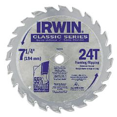 "IRWIN Classic Series Circular Saw Blade, Framing/Ripping, 24T, 7 1/4"", 18° Hook"