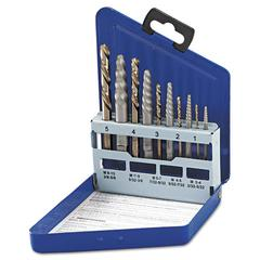 SAE Spiral-Flute Extractor/Drill Bit Set, 10-Piece