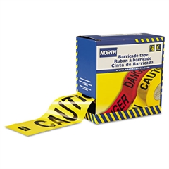 "Barricade Tape, 3"" x 1000 ft, ""Caution"" Text, Yellow/Black"