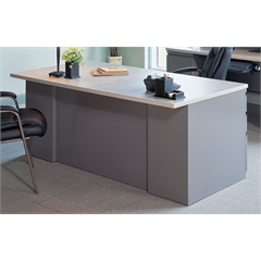 "72""x36"" Desk with two B/B/F Pedestals, Desert Sage Paint, Classic Rock Hp Laminate, Taupe T-mold/Pvc"