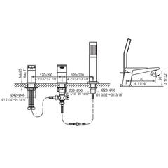 Brushed Nickel Deck Mounted 3 Hole Tub Filler & Shower