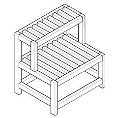 """AB4402 20"""" Double Wooden Stepping Stool Multi-Purpose Accessory"""