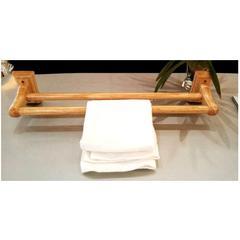 """AB5505 24"""" Double Rack Wooden Towel Bar Bathroom Accessory"""