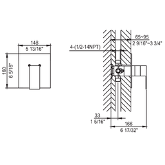 AB6701-PC Polished Chrome Modern Square Pressure Balanced Shower Mixer