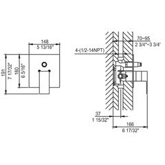 AB6801-BN Brushed Nickel Modern Square Pressure Balanced Shower Mixer with Diverter