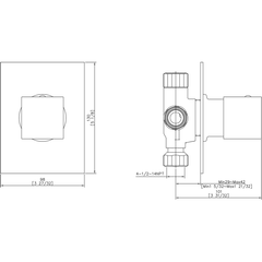 AB9209-BN Brushed Nickel Modern Square 3 Way Shower Diverter