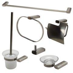 ALFI brand AB9503-BN Brushed Nickel 6 Piece Matching Bathroom Accessory Set