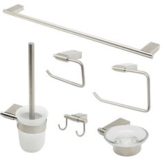 ALFI brand AB9515-BN Brushed Nickel 6 Piece Matching Bathroom Accessory Set