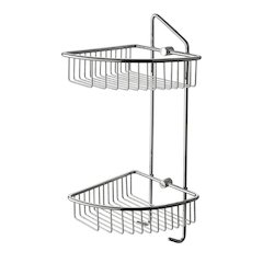 ALFI brand AB9532 Polished Chrome Corner Mounted Double Basket Shower Shelf Bathroom Accessory