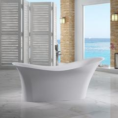"""74"""" White Solid Surface Smooth Resin Soaking Slipper Bathtub"""