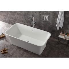 "67"" White Rectangular Solid Surface Smooth Resin Soaking Bathtub"