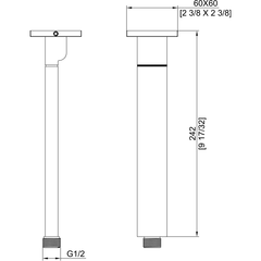 """AB9SC-PC Polished Chrome 9"""" Modern Square Ceiling Mounted Shower Arm"""