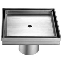 """5"""" x 5"""" Modern Square Stainless Steel Shower Drain w/o Cover"""