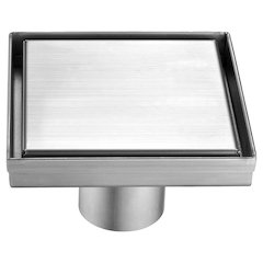 """ALFI brand ABSD55B 5"""" x 5"""" Modern Square Stainless Steel Shower Drain with Solid Cover"""