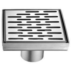 """5"""" x 5"""" Modern Square Stainless Steel Shower Drain with Groove Holes"""