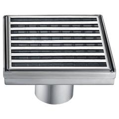"""5"""" x 5"""" Square Stainless Steel Shower Drain with Groove Lines"""