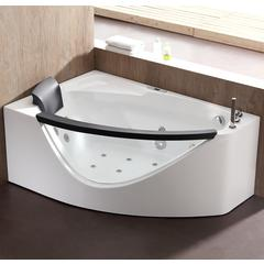 5 ft Clear Rounded Right Corner Acrylic Whirlpool Bathtub