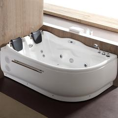 6 ft Right Corner Acrylic White Whirlpool Bathtub for Two