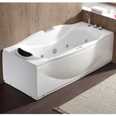 6 ft Right Drain Acrylic White Whirlpool Bathtub w Fixtures