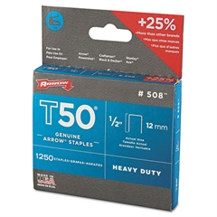 "T50 Heavy Duty Staples, 1/2"" Leg"