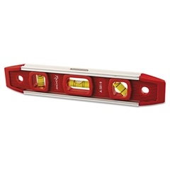 "Magnetic Torpedo Level, 9"" Long, Aluminum, Tri-Vial"