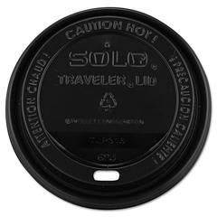 SOLO Cup Company Traveler Drink-Thru Lids, 10-24oz Cups, Black, 100/Sleeve, 10 Sleeves/Carton