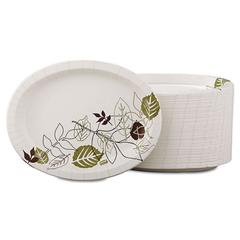 Pathways Heavyweight Oval Platters, 8 1/2 x 11, Green/Burgundy, 500/Carton