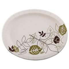 Dixie Ultra Pathways Heavyweight Oval Platters, 8 1/2 x 11, Green/Burgundy, 125/Pack