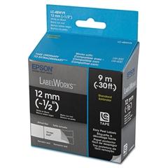 "Epson LabelWorks Standard LC Tape Cartridge, 1/2"", White on Black"
