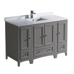 """Oxford 48"""" Gray Traditional Bathroom Cabinets w/ Top & Sink"""