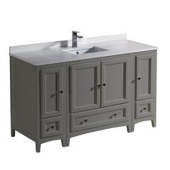 "Oxford 54"" Gray Traditional Bathroom Cabinets w/ Top & Sink"