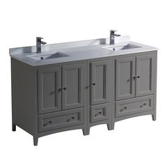 """Oxford 60"""" Gray Traditional Double Sink Bathroom Cabinets w/ Top & Sinks"""