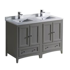 """Oxford 48"""" Gray Traditional Double Sink Bathroom Cabinets w/ Top & Sinks"""