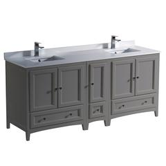 "Oxford 72"" Gray Traditional Double Sink Bathroom Cabinets w/ Top & Sinks"
