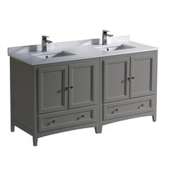 "Oxford 60"" Gray Traditional Double Sink Bathroom Cabinets w/ Top & Sinks"
