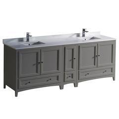 "Oxford 84"" Gray Traditional Double Sink Bathroom Cabinets w/ Top & Sinks"