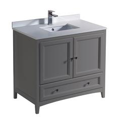 "Oxford 36"" Gray Traditional Bathroom Cabinet w/ Top & Sink"