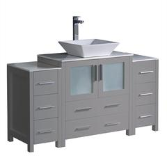 "Torino 54"" Gray Modern Bathroom Cabinets w/ Top & Vessel Sink"