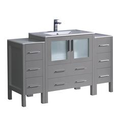 "Torino 54"" Gray Modern Bathroom Cabinets"