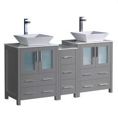 """Torino 60"""" Gray Modern Double Sink Bathroom Cabinets w/ Tops & Vessel Sinks"""