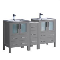"Torino 60"" Gray Modern Bathroom Cabinets"