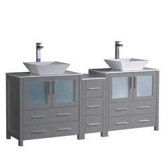 "Torino 72"" Gray Modern Double Sink Bathroom Cabinets w/ Tops & Vessel Sinks"