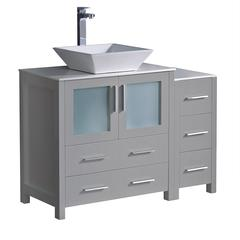 "Torino 42"" Gray Modern Bathroom Cabinets w/ Top & Vessel Sink"